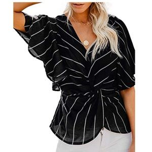 Tops - Striped Twist Top Blouse